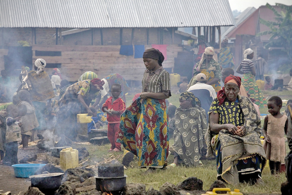 Displaced people shelter in a school in Bunagana town, North Kivu, eastern DRC (May 2012)