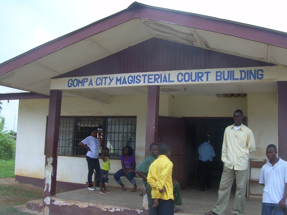 A courthouse in north-eastern Liberia. Community Legal Advisers with the Catholic church-backed Justice and Peace Commission works with locals to settle disputes out of court