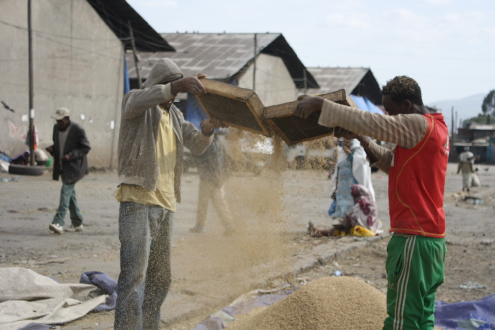 Men sift wheat at Ihil Berenda, the wholesale grain market in Addis Ababa