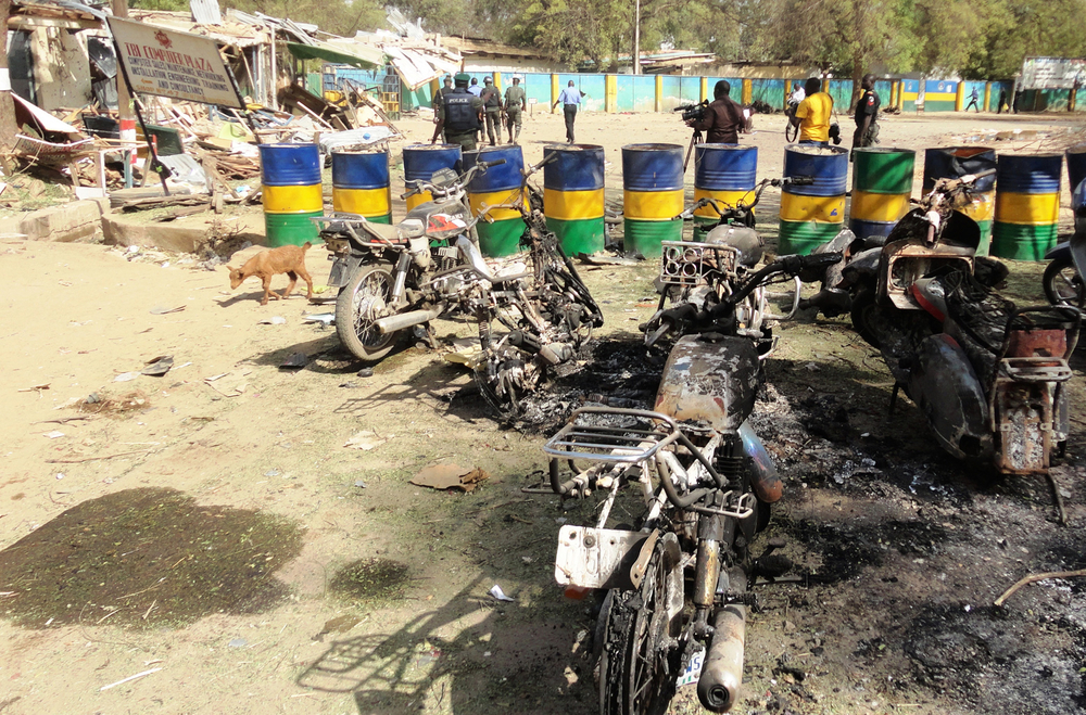 Destruction caused by Boko Haram militia at a police headquarters in the northern Kano city