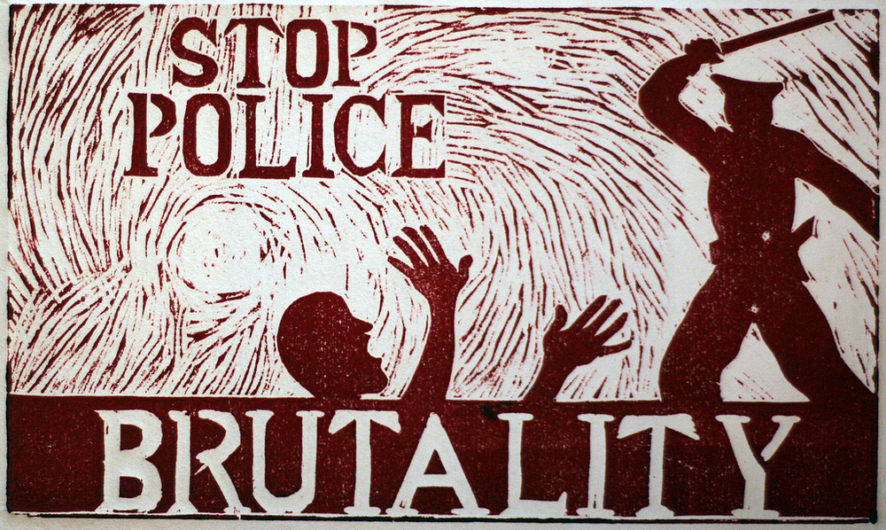 Indonesia woodprint protesting police brutality