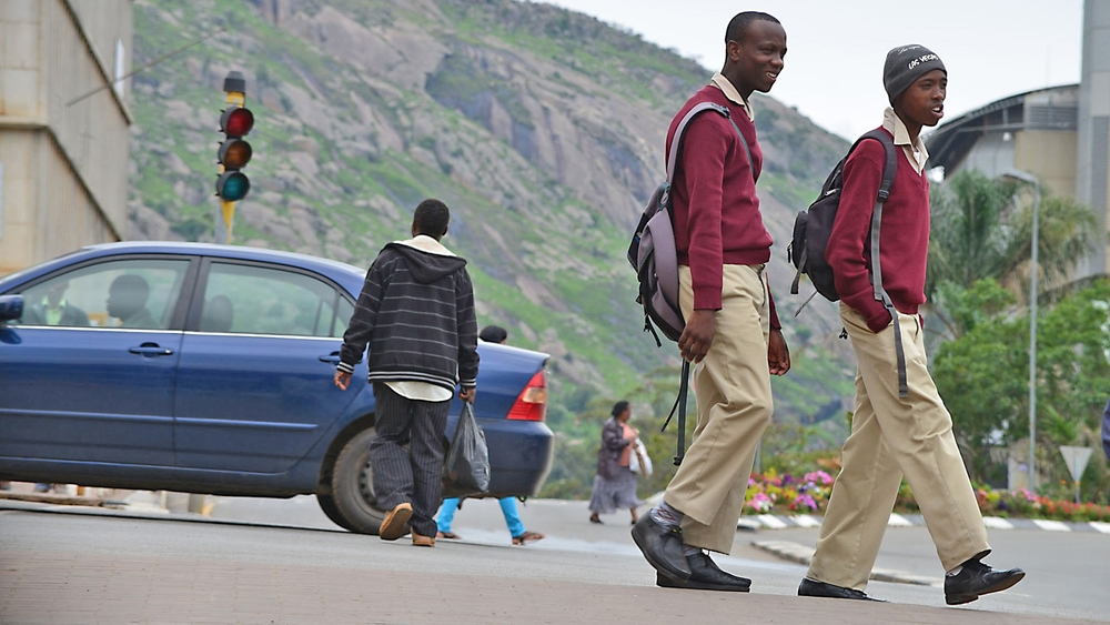 Schoolboys in downtown Mbabane, Swaziland's capital
