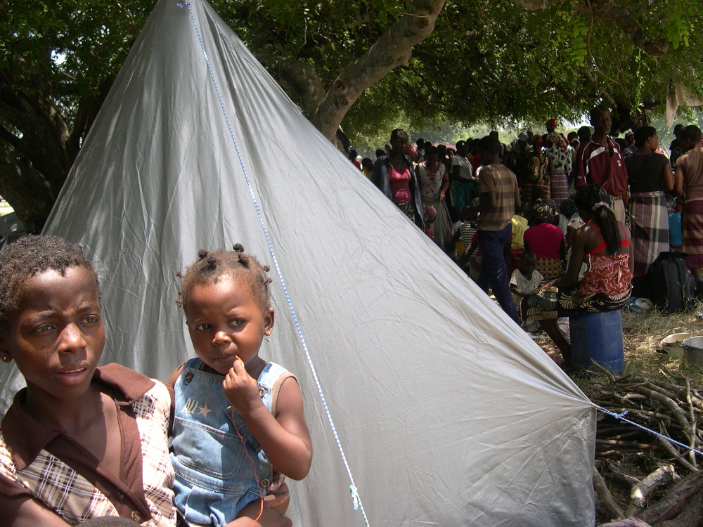 Many people have sought refuge from the floods in the Chiaquelane camp in Mozambique's Gaza district