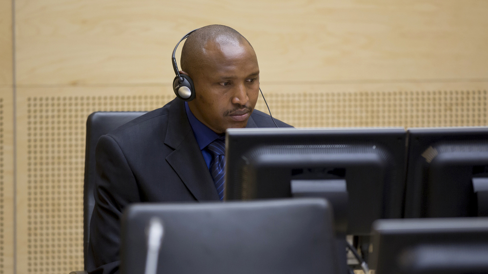 Mr Bosco Ntaganda during his initial appearance before the International Criminal Court on 26 March 2013