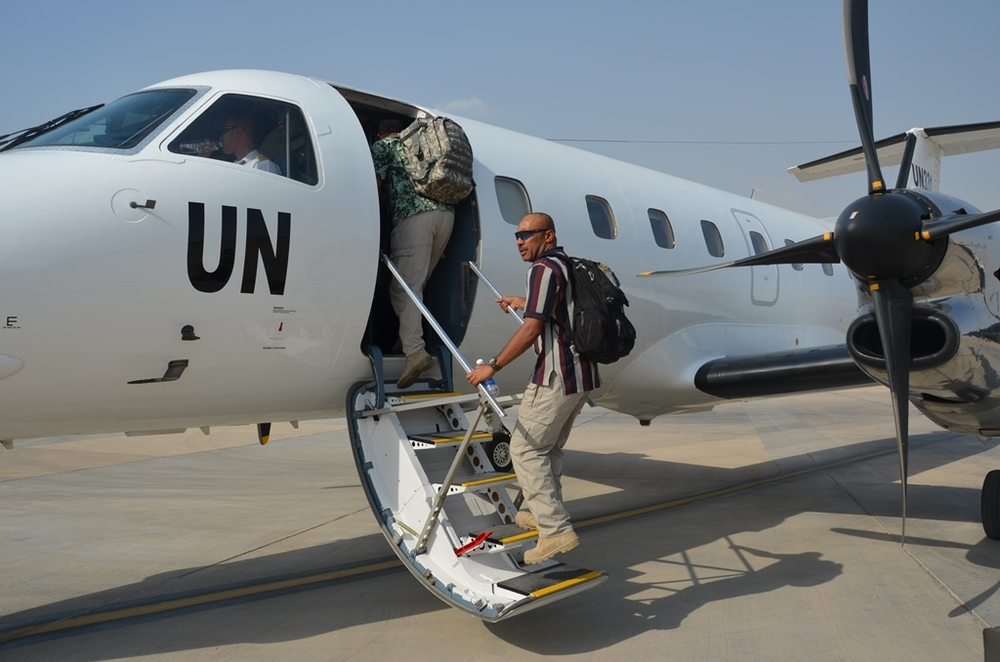 A UN flight takes aid workers from Baghdad to Erbil in Iraq