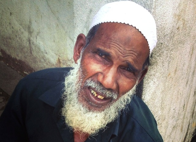 A elderly Muslim man looks to the camera in Colombo. Muslims make up 9 percent of the country's 20 million inhabitants