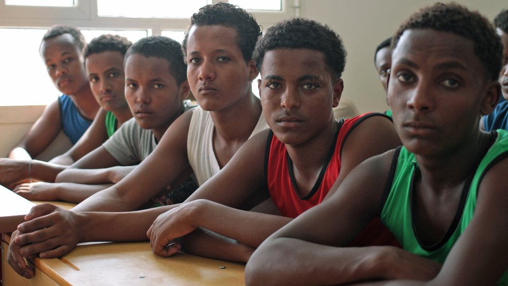 Ethiopian teenage migrants days before being voluntarily repatriated from Yemen (May 2013)