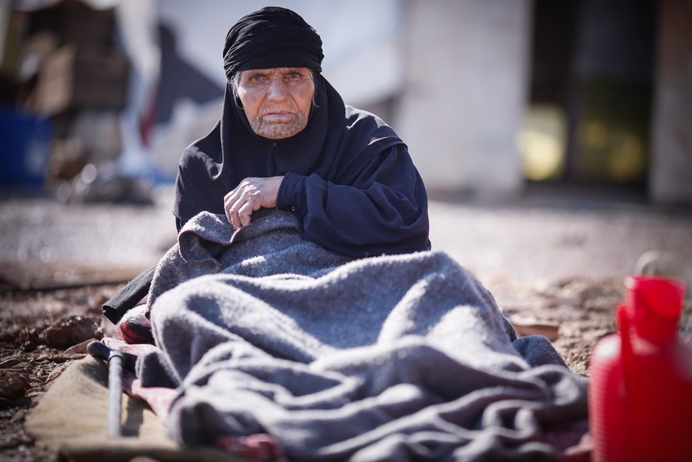 An elderly Syrian refugee in the Beka'a Valley, Lebanon. Aid agencies say the elderly are among the most vulnerable refugees but are often neglected by the humanitarian community