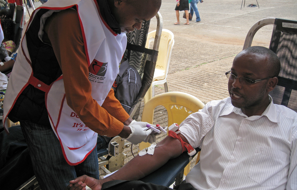 One of the many volunteers who have turned for a blood donation exercise being coordinated by the Kenya Red Cross in Nairobi