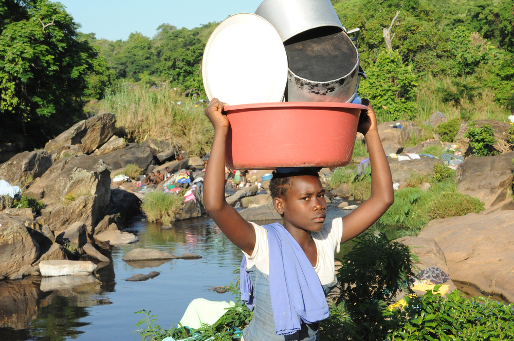 Gorongosa residents in doing their chores at the nearby Nhandari river in the central Mozambique Sofala province