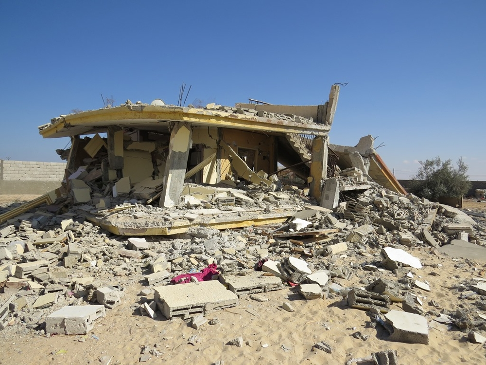 The home of Shadi el-Menai, founder of the jihadist group Ansar Bayt al-Maqdis, in al-Mehdiya Village in Egypt's North Sinai governorate. The army destroyed his home in the fall of 2013 during its months-long campaign against militants in the restive Sina