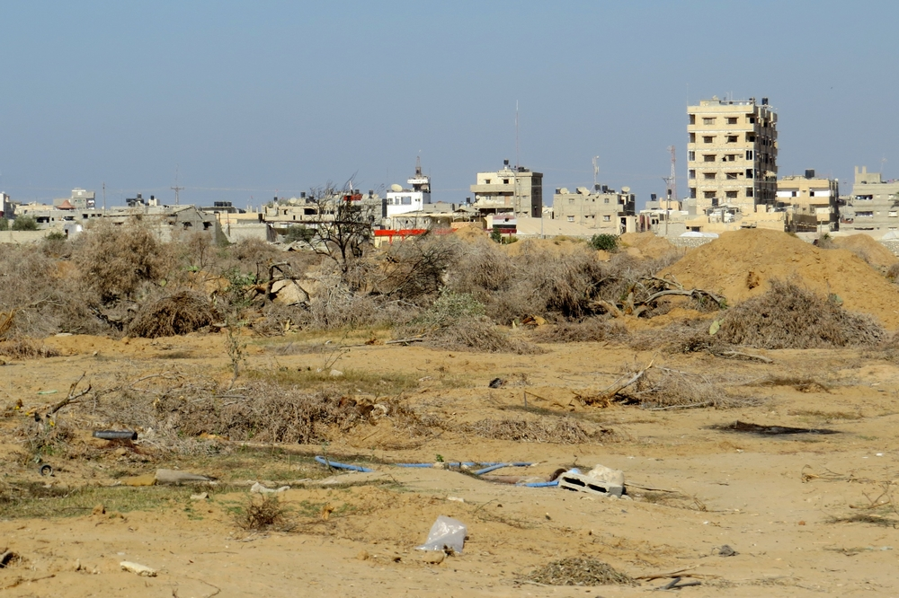 In the foreground of al-Mehdiya village, in Egypt's North Sinai governorate, sits a former olive tree orchard, destroyed in the fall of 2013 during security forces' campaign against militants in the area. (Photo taken by Sophie Anmuth in October 2013 - BU
