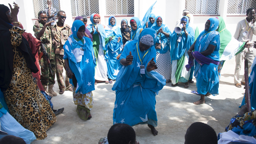 Traditional dancers celebrating the launch of the Interim Jubba Administration ceremony on 20th January 2014 at the Jubba Statehouse