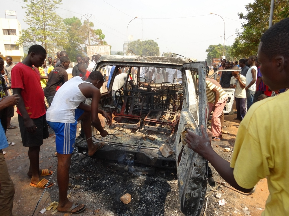 A car in Bangui, capital of the Central African Republic  that was burned by the anti-Balaka vigilantes after suspected Seleka combatants were found inside it. The security situation remains tense in the CAR, especially in Bangui where lootings, shootings