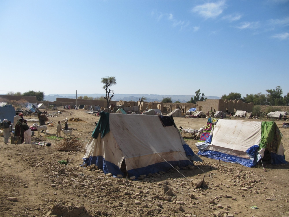 A camp of IDPs that have returned to Dera Bugti town (Feb 2014)
