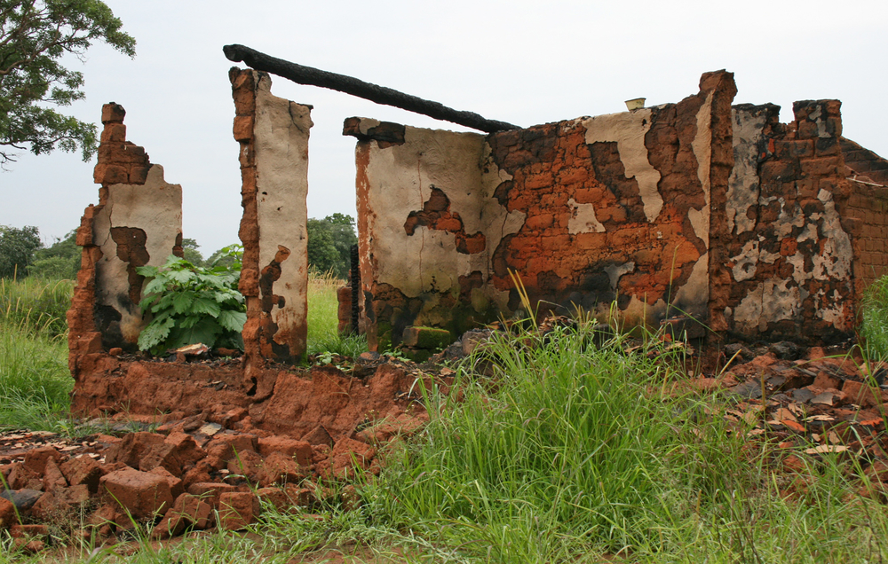 The remains of a house burned by Kata Katanga rebels in central Katanga province