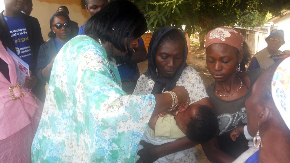 Children receive oral polio vaccine in Cameroon. The country has 7 cases of the polio virus since late 2013, due to incomplete vaccine campaigns and regional insecurity that has spurred refugee flight from Nigeria.