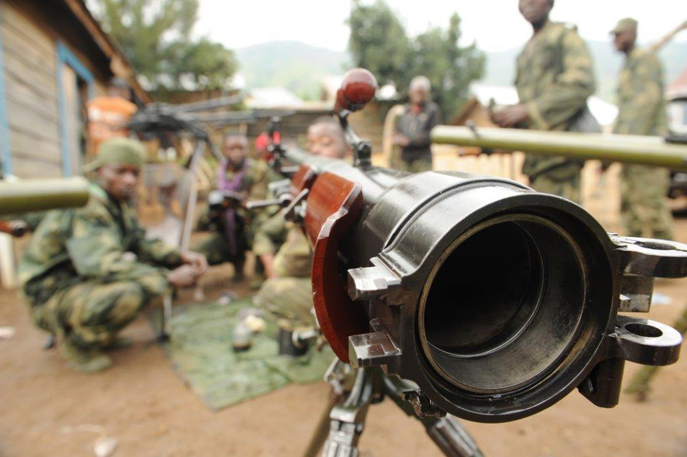 A recoilless rifle in use with the FARDC and captured from the DRC armed group M23 during operations in 2013. The weapon is now being deployed for use against the FDLR in Tongo, Rutshuru Territory, North Kivu province