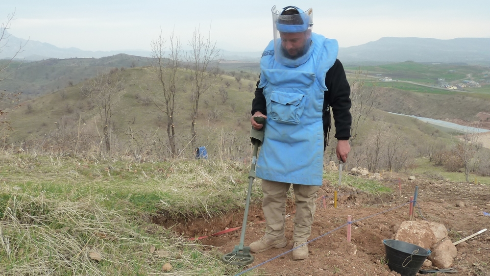 An employee of Stirling Global working on a mine site of a former military post near Zakho in Dohuk, close to Iraqi Kurdistan's border with Turkey.