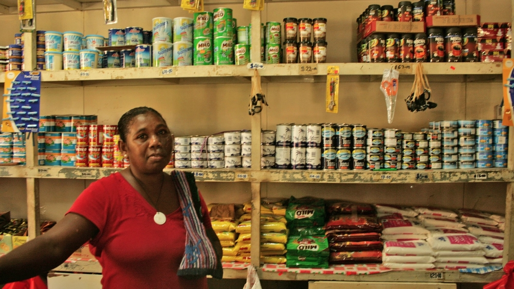 Shop in Buala, Isabel Province, Solomon Islands, where only imported high-sodium tinned goods are available. Shelf life is key for products making it to market, but not so great for non-communicable diseases and people's waistlines
