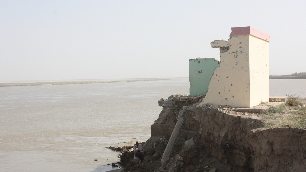 The Arigh Ayagh School on the bank of the River Amu Darya has disappeared in recent years as the river has both grown and shifted course. The river runs between Afghanistan and Uzbekistan.