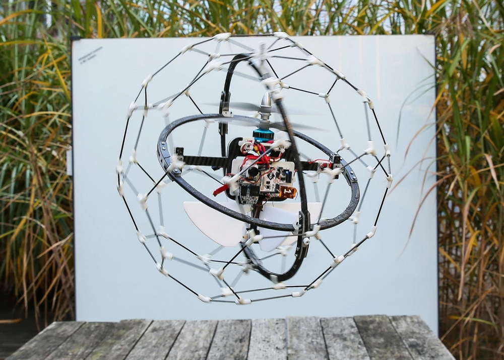 Gimball, a UAV created by Flyability in Switzerland, that is collision-proof due to its outer protective frame. Can be used in buildings and fires. Contains an HD camera. Won top prize of USD$1million at Dubai's Drones for Good event in February 2015