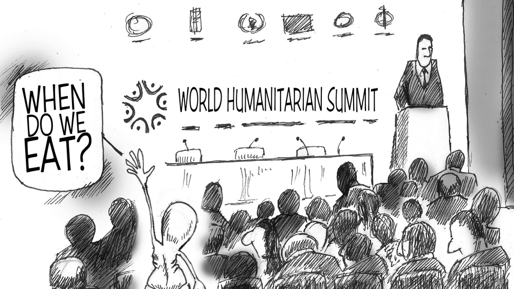 Cartoon by @gathara for @irinnews on World Humanitarian Summit