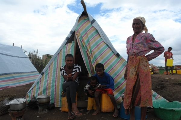 People displaced by the flooding in Antananarivo are accommodated in camps