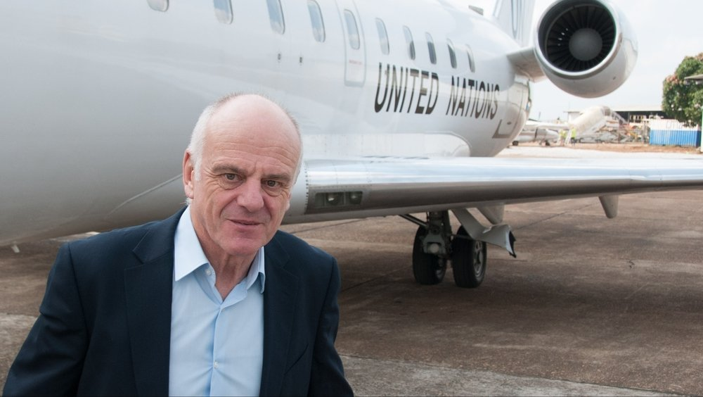 David Nabarro, Special Envoy of the Secretary-General on Ebola, arrives in Guinea's capital, Conakry, on 27 November 2014, as part of the first stop in his visit to the West African countries affected by the Ebola virus