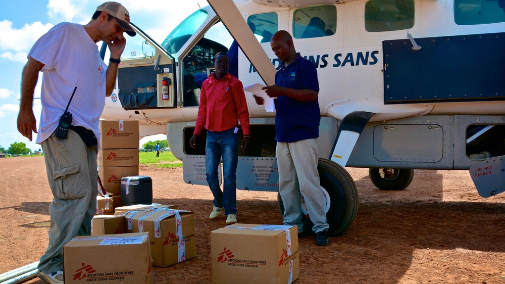 A MSF plane is being offloaded of urgent medical supplies for the MSF hospital in Agok, South Sudan