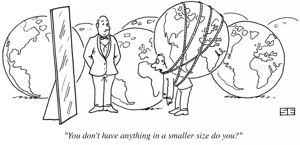 Cartoon of a man with the whole world on his shoulders