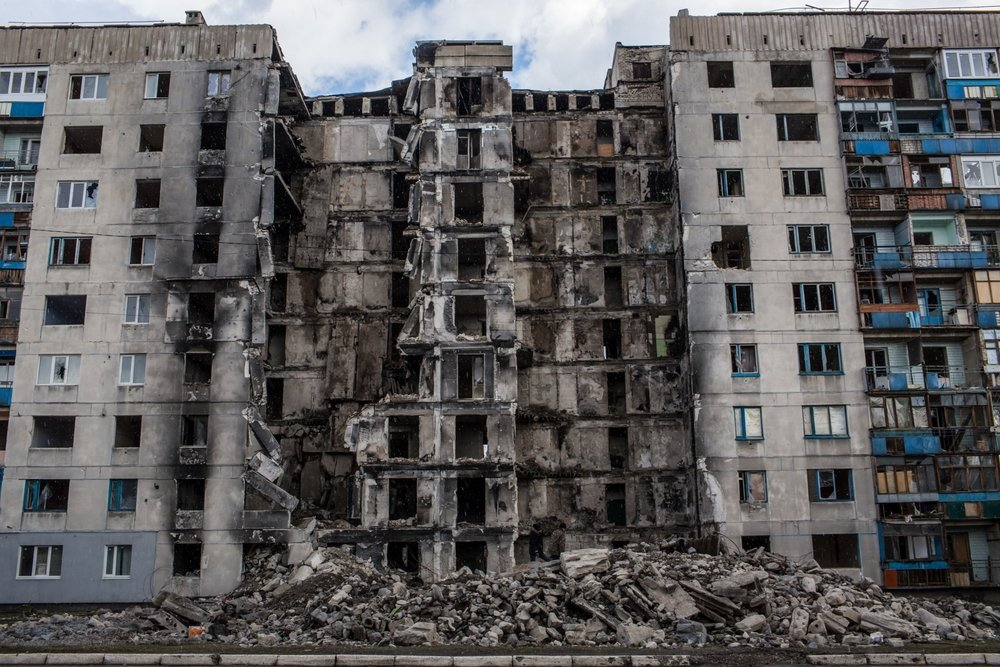 This building in Lisichansk, Ukraine was damaged by shelling in July 2014.