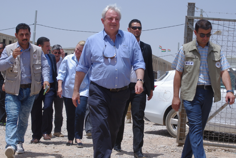 In his first official visit as United Nations Under Secretary-General for humanitarian affairs and emergency relief coordinator, Stephen O'Brien visits a camp for the displaced in the Iraqi city of Erbil