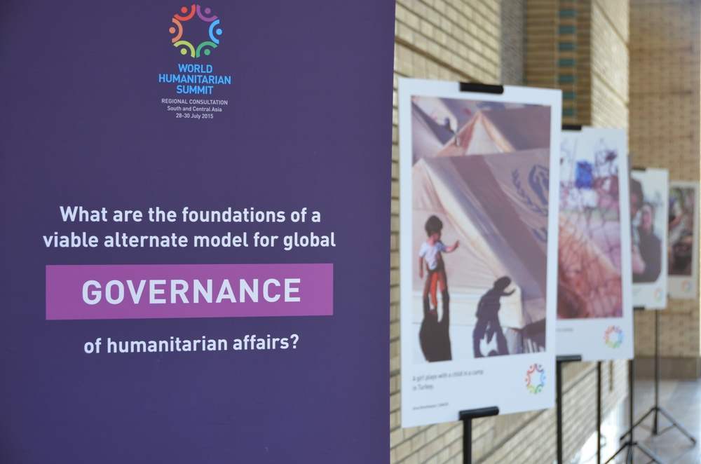 A signboard at the entrance to the World Humanitarian Summit regional consultation for South and Central Asia in the Tajik capital Dushanbe in July 2015.
