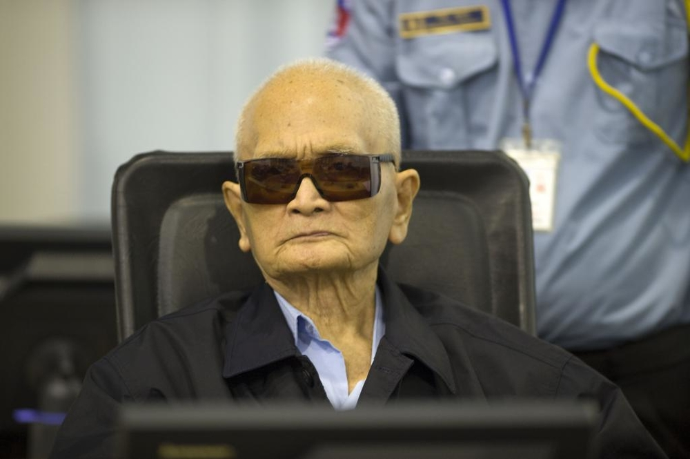 Khmer Rouge deputy leader Nuoun Chea at the war crimes tribunal in Cambodia in early 2015