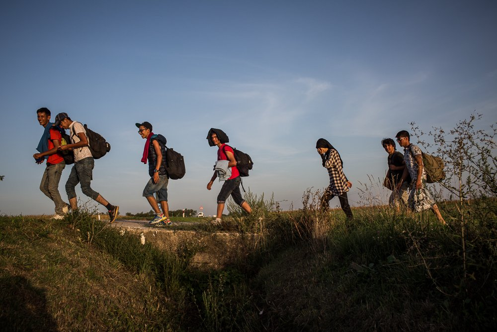 After crossing into Croatia from Serbia, a group of refugees walk from the village of Tovarnik to a meeting point with a smuggler who has promised to take them to Austria