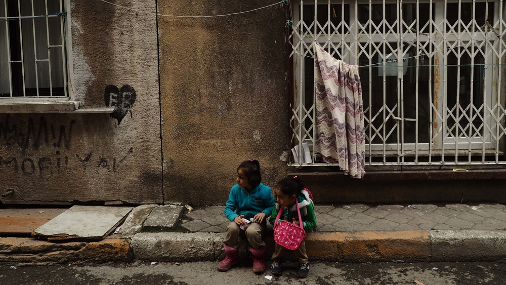 Two Syrian children in Tarlabasi neighborhood, where poor and marginalised Syrian families live together with mostly Kurdish and Roma people