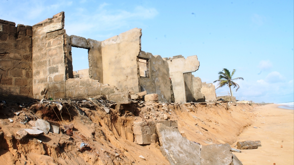 Rising sea levels are increasing eroding the coast of Togo and destroying home and businesses