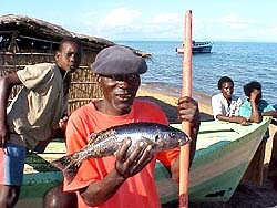 [Malawi] Malawian fisherman Tallheart Phiri shows the butterfish he caught in Lake Malawi.