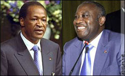 [West Africa] President Blaise Compaore of Burkina Faso and Laurent Gbagbo of Cote d'Ivoire.