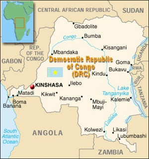 Map of Democratic Republic of Congo (DRC)