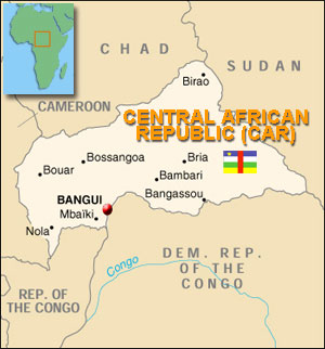 Map of Central African Republic (CAR)