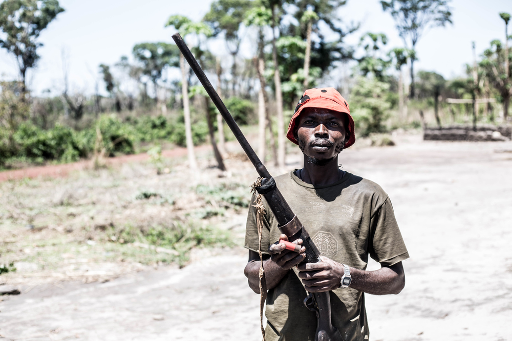 A man holds a home-made rifle in the Central African Republic
