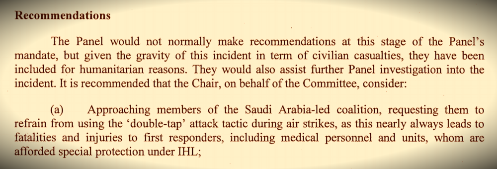An extract from a UN panel of experts report on Yemen, October 2016