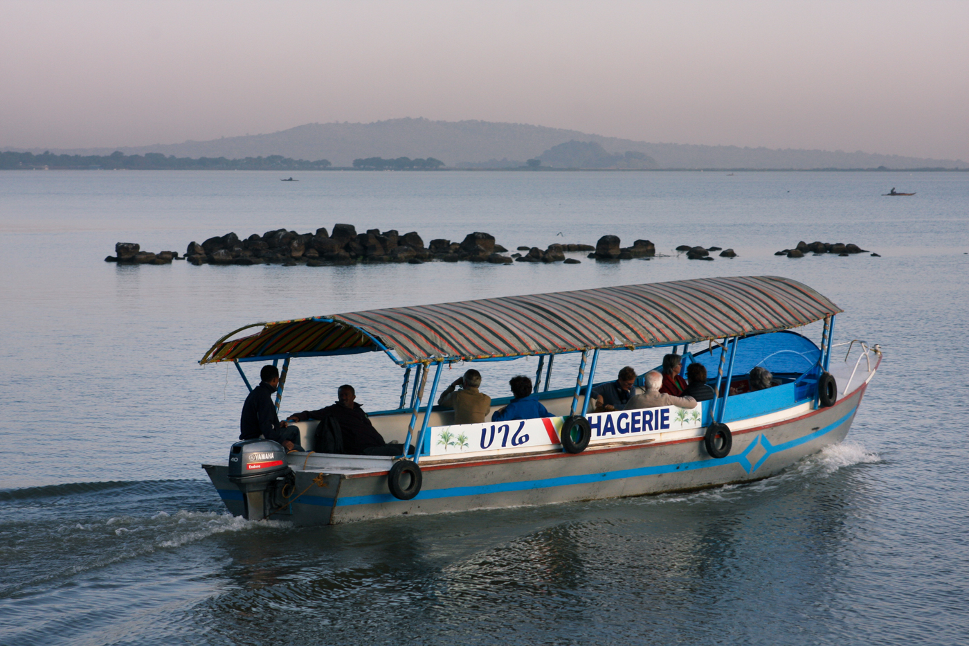 Tourists on a boat on Lake Tana set off from Bahir Dar, the capital of the Amhara region in Ethiopia