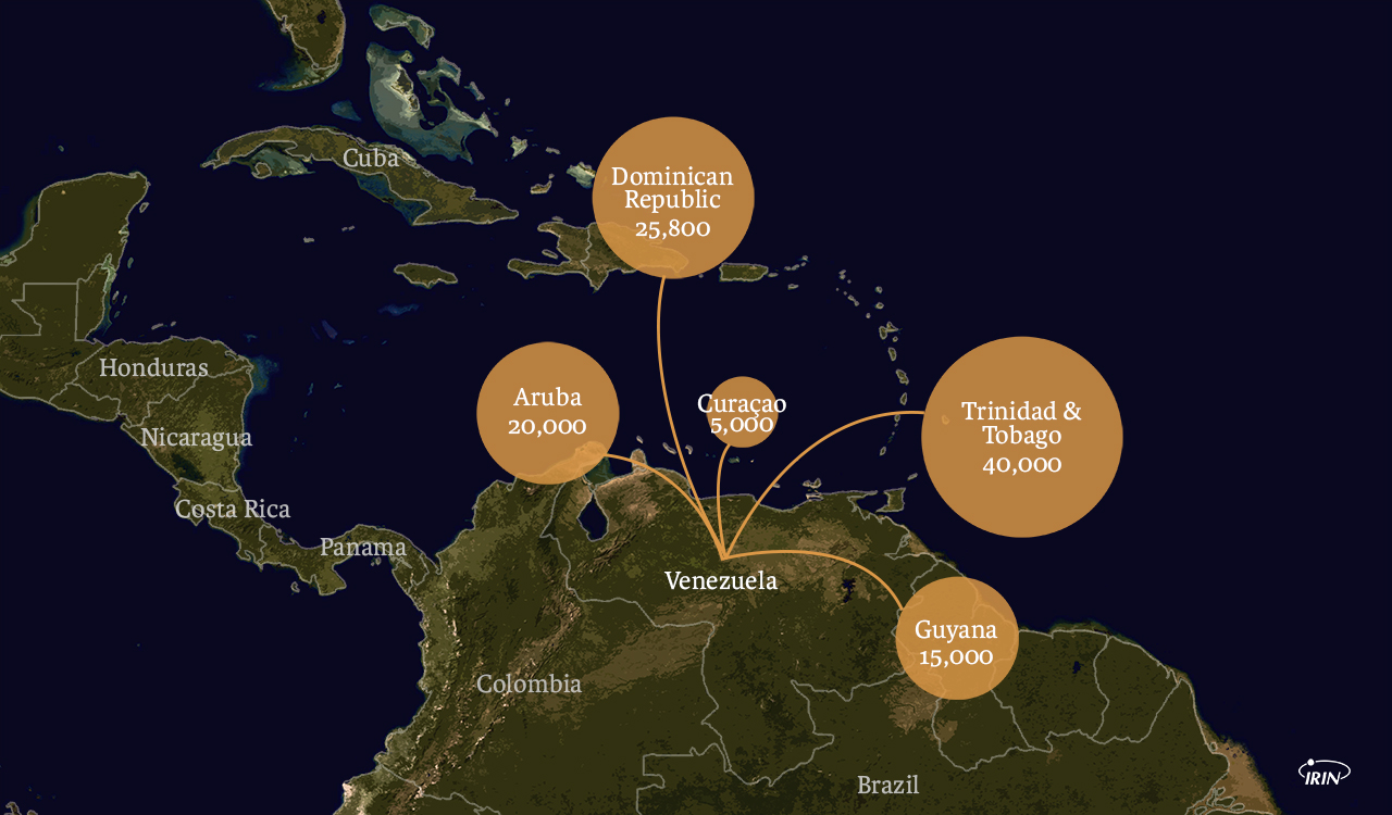 map of northern south america and the caribbean showing migration from venezuela