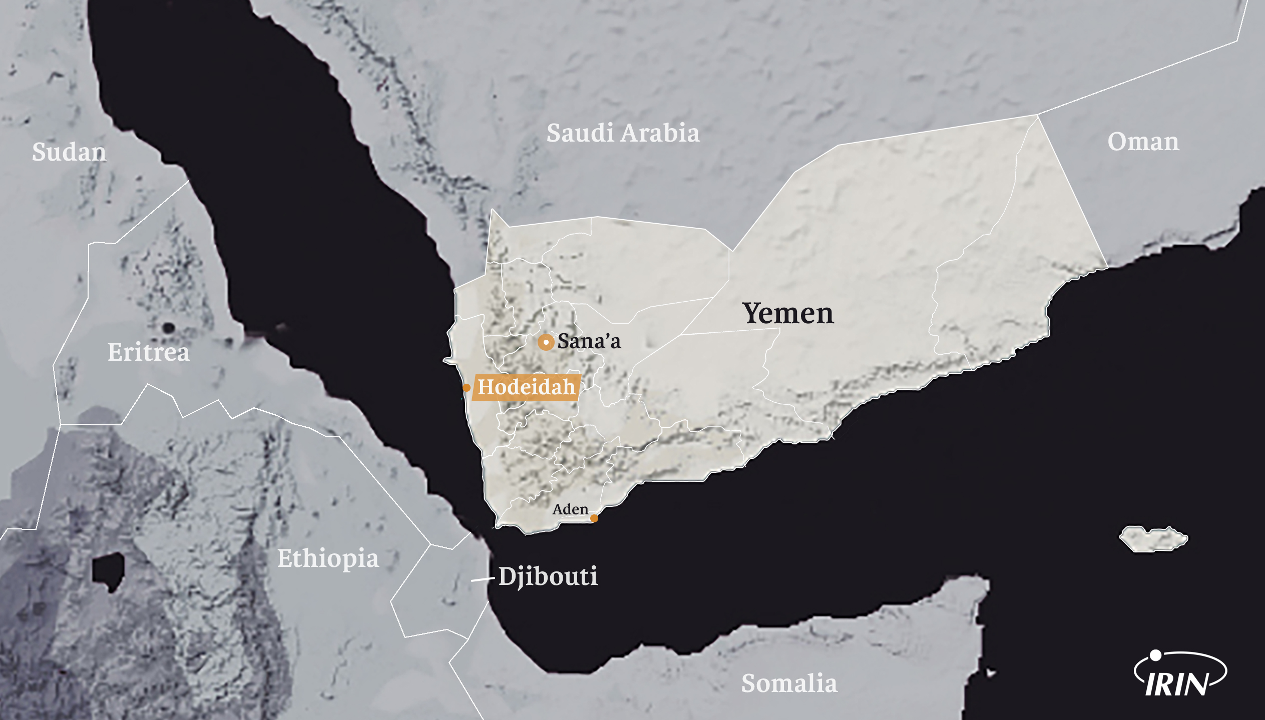 Map of Yemen showing neighbouring countries, Hodeidah, Sana'a, and Aden