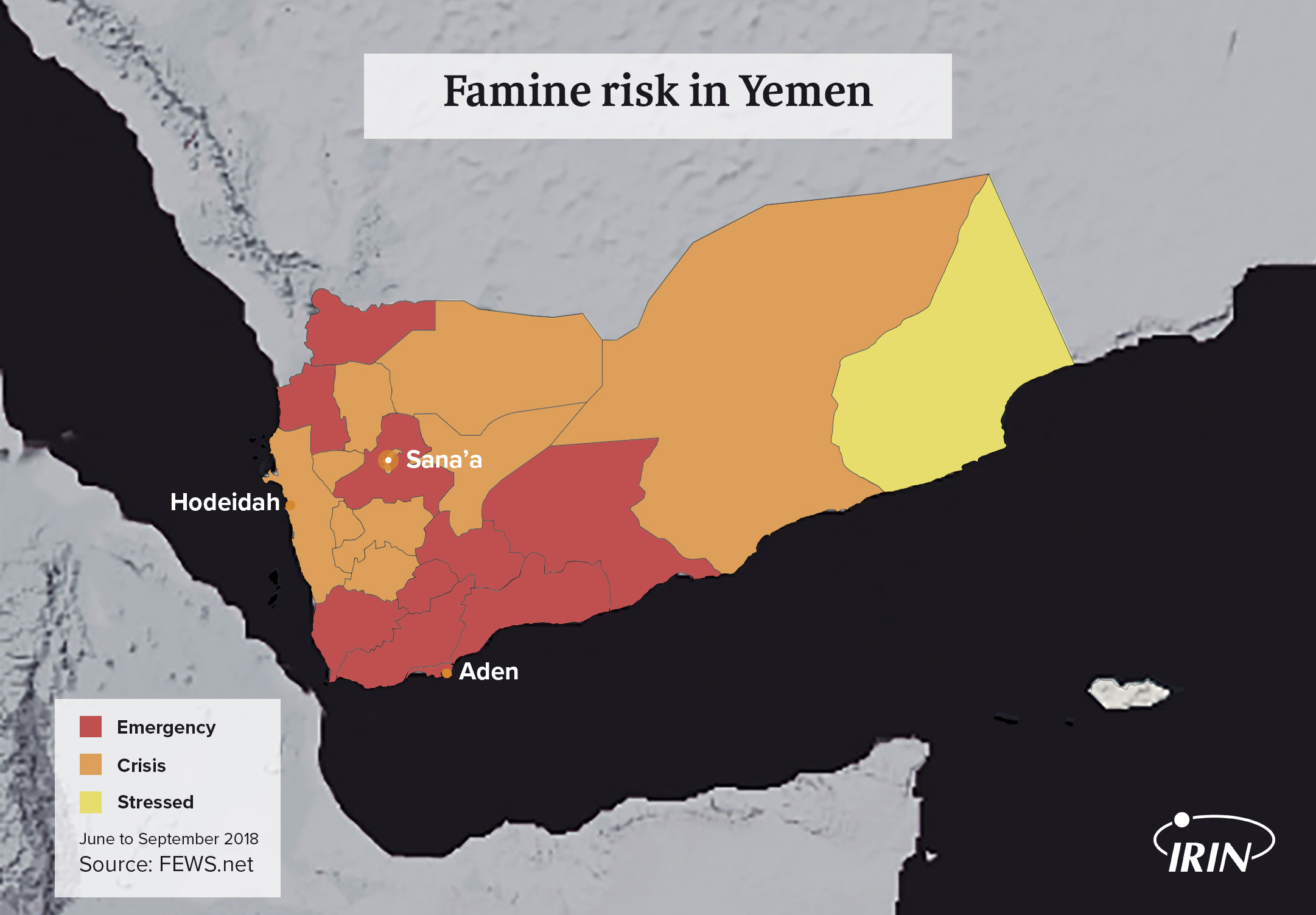 map of Yemen including Hodeidah, Sana'a, and Aden with FEWS NET famine risk shown