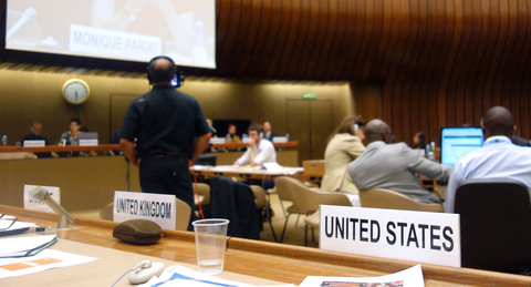 Photo of United States position at United Nations ECOSOC meeting.