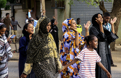 Photo of women at protests in Khartoum, Sudan